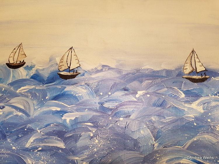 Weiß, Schiff, Meer, Boot, Malerei, Maritime kunst