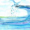 Blau, Aquarellmalerei, Landschaft malerei, Meer