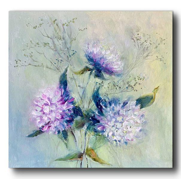 Ölmalerei, Blumen, Malerei, Hortensien, Pflanzen