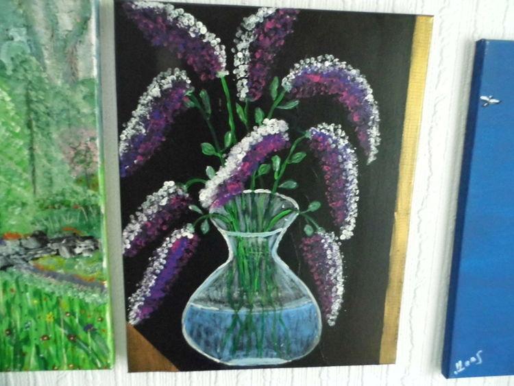 Acrylmalerei, Flieder, Dunkel, Gedanken, Malerei