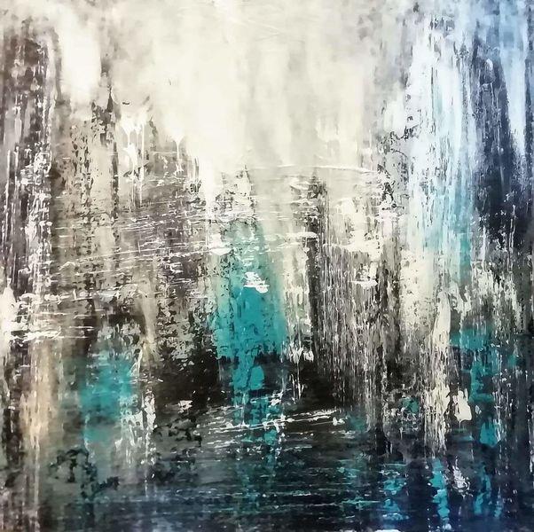 Blau, Fantasie, Acrylmalerei, Malerei, Schwarz, Weg