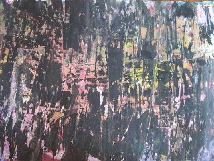 Acrylmalerei, Bunt, Abstrakt, Spachtel, Malerei