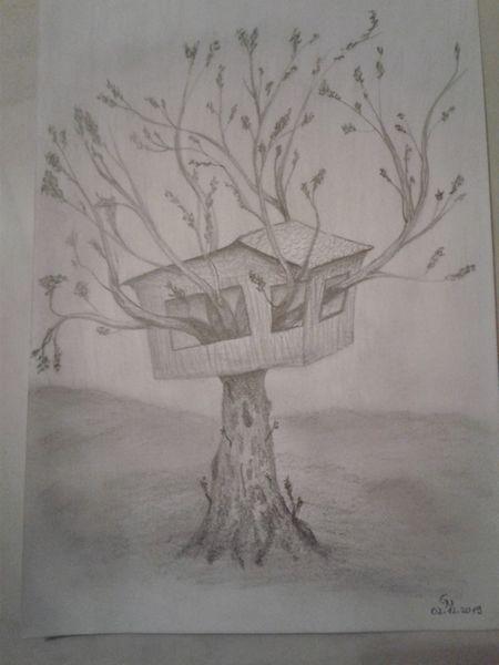 Bleistiftzeichnung, Skurril, Natur, Baum, Surreal, Haus