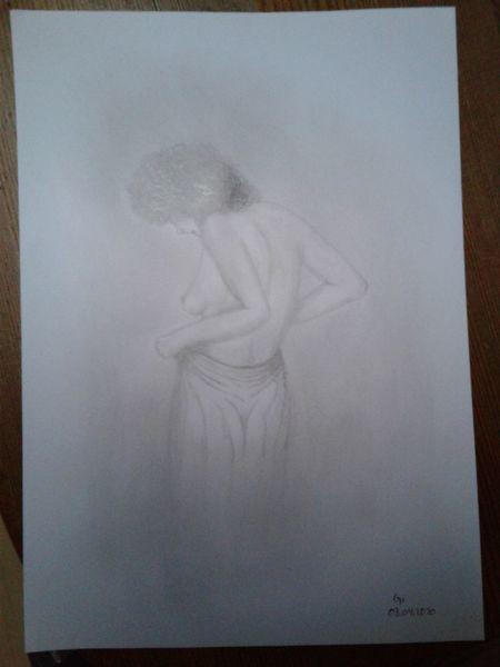 Brust, Akt, Körper, Weiblich, Enthüllung, Bleistiftzeichnung