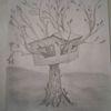 Bleistiftzeichnung, Skurril, Natur, Baum