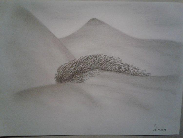 Bleistiftzeichnung, Landschaft, Busch, Schamhaar, Erotik, Dünen