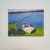 Ruderboot, Sommer, Landschaft, Malerei