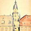 1978 gemalt, Rochlitz in sachsen, Martha krug, Aquarell