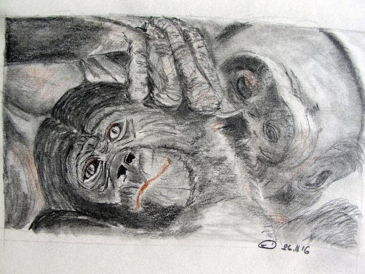 Affe, Bleistiftzeichnung, Tiere, Zeichnungen