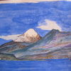 Chile, Aquarellmalerei, Vulkan, Aquarell