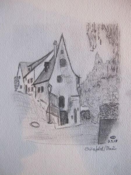Haus, Architektur, Reiseskizze, Zeichnungen