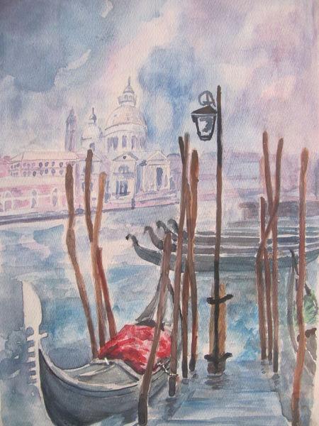 Aquarellmalerei, Venedig, Gondel, Aquarell, Gewitter