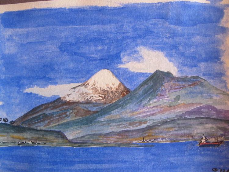 Vulkan, Chile, Aquarellmalerei, Aquarell