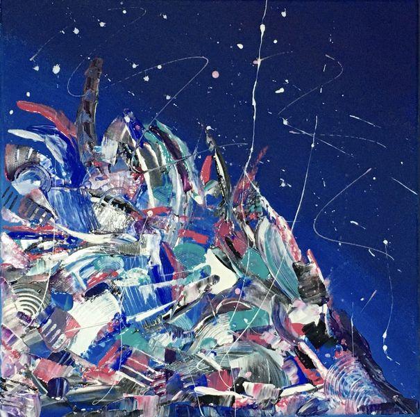 Blau, Blau abstrakt, Abstrakte malerei, Bunt abstrakt, Spachteltechnik, Malerei