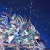Blau abstrakt, Spachteltechnik, Abstrakte malerei, Bunt abstrakt