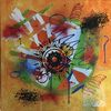 Bunt abstrakt, Abstraktes gemälde, Abstrakte malerei, Malerei