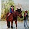 Pferde, Mädchen, Ausritt, Aquarell