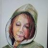 Portrait, Buntstifte, In gedanken, Zeichnungen