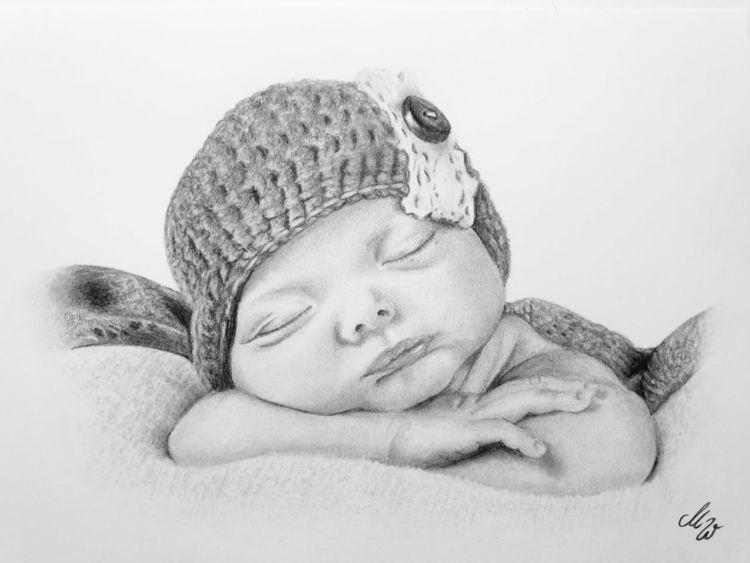 Zeichnung, Bleistiftzeichnung, Baby, Zeichnungen