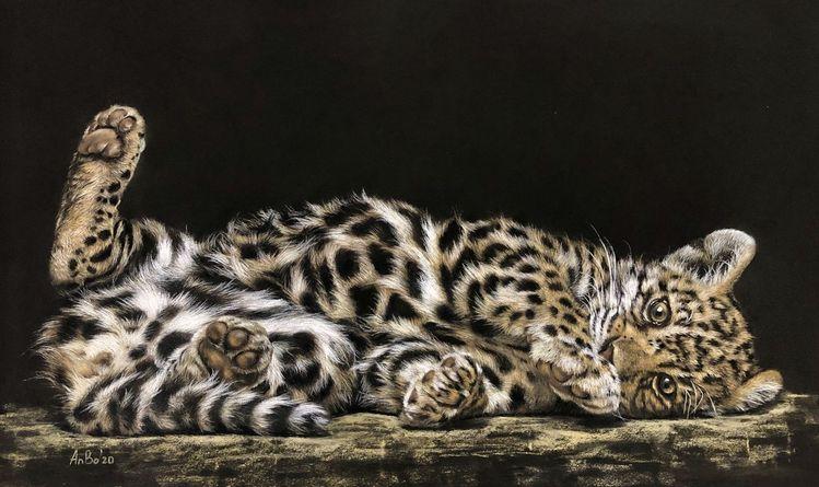 Tierportrait, Pastellmalerei, Katze, Leopard, Zeichnungen
