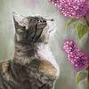 Tierportrait, Pastellmalerei, Katze, Flieder