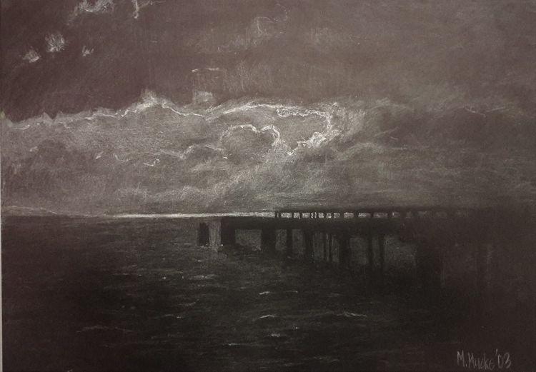 Landungsbrücke, Düster, Ostsee, Kohlezeichnung, Aquarellmalerei, Zeichnungen
