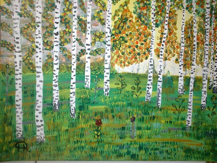 Abstrakte malerei, Birken, Wald, Herbst, Malerei