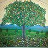 Baum, Blumenwiese, Abstrakte malerei, Fantasie