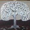 Mondschein, Landschaft, Baum, Abstrakte malerei