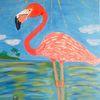 Flamingo, Abstrakte malerei, Meer, Malerei