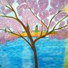 Abstrakte malerei, Frühling, Kirschblüte, Landschaft