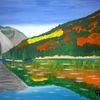 See, Natur, Landschaft, Abstrakte malerei