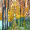 Herbst, Abstrakte malerei, Wald, Natur