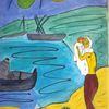 Abstrakte malerei, Menschen, Landschaft, Malerei