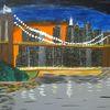 Landschaft, Brücke, Stadt, Abstrakte malerei
