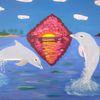 Meer, Delfin, Abstrakte malerei, Landschaft