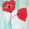 Abstrakte malerei, Blumen, Mohn, Malerei