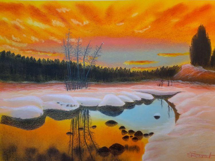 Schnee, Sonnenuntergang, Wasser, Winter, Malerei