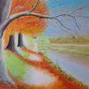 Fluss, Ufer, Weg, Herbst