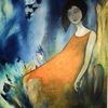 Mädchen, Felsen, Wasser, Malerei