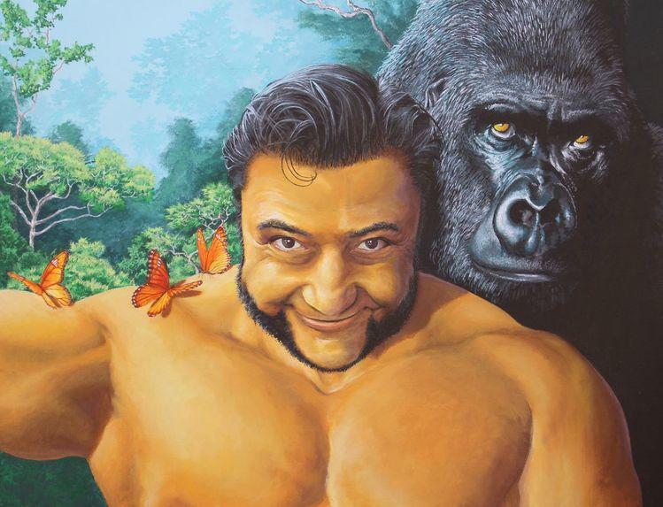 Gorilla, Acrylmalerei, Schmetterling, Tiere, Menschen, Portrait