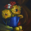 Ölmalerei, Zitrone, Blau, Studie
