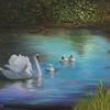 Vogel, Familie schwan, Weiher, Weiß