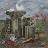 Ölmalerei abstraktes, Skulptur, Mystik, Davidkopf