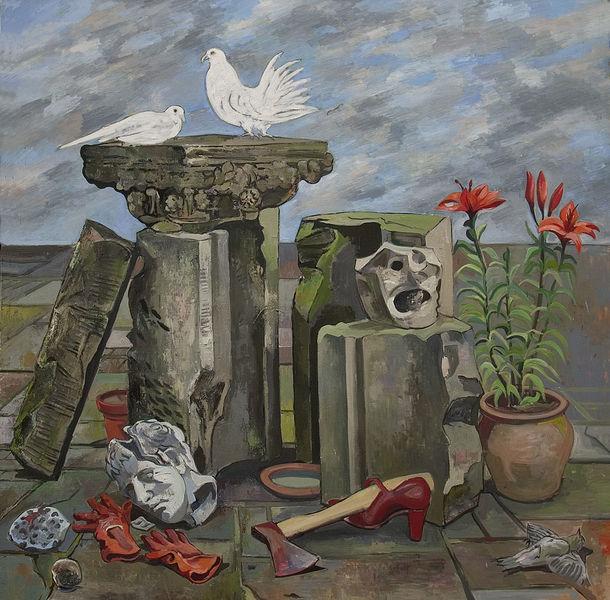 Ölmalerei abstraktes, Skulptur, Mystik, Davidkopf, Stillleben, Tod