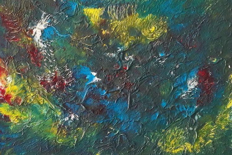 Abstrakt, Gelb, Malerei, Blumen, Blätter, Acrylmalerei