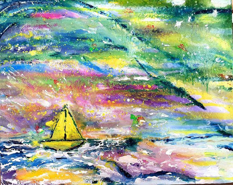 Boot, Meer, Malerei, Reise