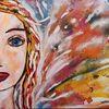 Frau, Abstrakt, Selfie, Malerei