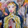 Sehen, Abstrakt, Frau, Malerei