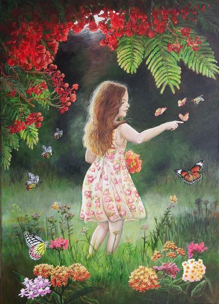 Tau, Sommer, Mädchen, Natur, Tropisch, Schmetterling